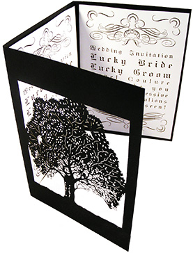 Custom Wedding Tri-fold Invitation Lover's Tree